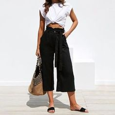 Womens Soft Palazzo Wide Leg Pant with Pockets High Waist Casual Loose Flowy Pants with Belt Flowy Pants, Loose Pants, Yellow Pants, Black Pants, White Pants, In Natura, Wide Leg Linen Pants, Summer Pants, Ankle Length Pants