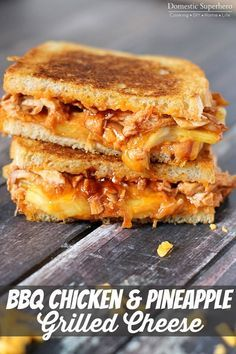 BBQ Chicken & Pineapple Grilled Cheese is the perfect ooey-gooey Hawaiian style grilled cheese sandwich. Delicious!