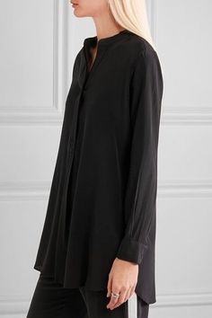 Black silk crepe de chine Concealed button fastenings along front  100% silk Dry clean