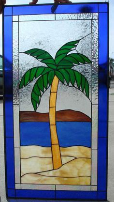 72c8631fa5d8f Island Palm Tree Leaded Stained Glass Window Panel (Also available  insulated and pre-installed in vinyl frame)