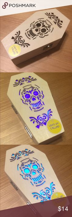 Light Up Coffin Box Wooden Coffin Box with sugar skull and filigree cut outs. LED color changing light! BRAND NEW!!! SO COOL!!! Accessories
