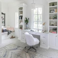Gorgeous bedroom built-in desk and shelves designed under a window and a trellis pendant. Blue Teen Girl Bedroom, Teenage Girl Bedroom Designs, Teenage Girl Bedrooms, Girl Rooms, White Desk Bedroom, Bedroom Built Ins, Built In Desk, White Desks, Home Office Design