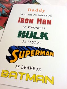 Superhero Father's Day Card by stampandseal on Etsy, $5.00