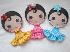 broches Felt Patterns, Embroidery Patterns, Softie Pattern, Felt Fairy, Polymer Clay Dolls, Boutique Hair Bows, Girls Quilts, Fairy Dolls, Felt Toys