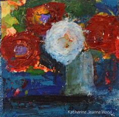 Acrylic impasto palette knife paintingBouquet of red flowers, and one white flower Flower Series No 37Original painting available hereGiclee prints available here My latest obsession is guacamole a...