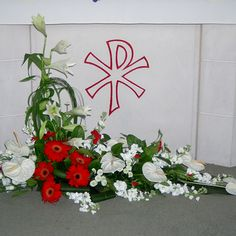 Red and White Church Flowers