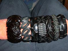 I would do horrible things for am arm full of these. Horrible. Vintage black bakelite bangles