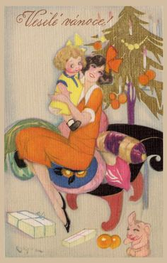 Italian Art Deco Christmas Card by Sofia Chiostri ~ Orange Dress Holiday Images, Vintage Christmas Images, Old Christmas, Retro Christmas, Vintage Holiday, Christmas Pictures, Christmas Greetings, Old Cards, Xmas Cards