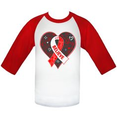 Get inspired for the cause with our line of Aplastic Anemia Believe Heart Ribbon Slogan Baseball Jerseys spotlighting a lovely heart shape whimsical design and the designated awareness ribbon for the cause. Ideal for awareness events, walks, support groups and anyone looking to get their cause noticed  #AplasticAnemiaAwareness