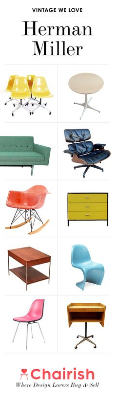 An iconic piece of Herman Miller furniture completes a space with both style and function. Whether it's a classic Herman Miller-produced Eames Lounge Chair or a bold George Nelson Bubble Lamp, shop Chairish for authentic Herman Miller furniture and decor.