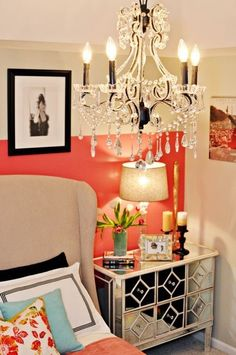 Nightstand and coral wall rm