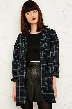 Sparkle & Fade - Blazer wide green plaid UO