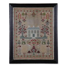 """""""Mary Millar, Sep 1854"""". Yarn-stitched with house, trees, hearts, monarch """"crown"""" emblems, fowl and four-legged creatures. Sight 11 1/2"""" x 18""""."""