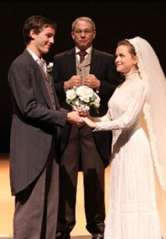 """""""Our Town"""" at Rice University's Hamman Hall is Thornton Wilder's Pulitzer-Prize-winning masterpiece OUR TOWN, described by playwright Donald Margulies as """"a great American play – Rice University - Hamman Hall Theatre Stage, Theater, Wedding Veils, Wedding Dresses, Rice University, Our Town, Playwright, Headpieces, Hair Jewelry"""