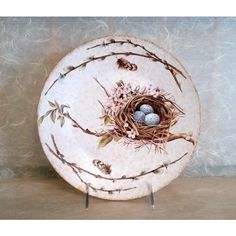 Decorative Wood Plate Featuring Bird Nest with Eggs (47 CAD) ❤ liked on Polyvore featuring home, home decor, wooden plate rack, wood plates, handmade home decor, wooden plates and wood home decor