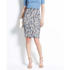 Ann Taylor Paisley Pencil Skirt ($75) ❤ liked on Polyvore featuring skirts, ann taylor, marina blue, cotton skirt, blue pencil skirt, print pencil skirt, pencil skirt and petite skirts