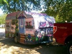 She turned a vintage trailer into a Victorian house