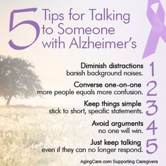 Click on the link below to discover all 10 Tips for Talking to Someone With Alzheimer's...  http://www.agingcare.com/153899 #Alzheimers #tgen #mindcrowd www.mindcrowd.org