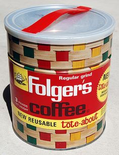 Folger's Coffee Tote-About Can, 1963 Vintage Tins, Vintage Labels, Vintage Coffee, Vintage Shops, Folgers Coffee, Coffee Tin, Antique Coffee Grinder, Food Advertising, Vintage Packaging