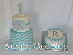 1st Birthday Chevron Cake