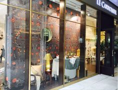 'Botanicals' wallpaper in graphite - Autumn window display at Le Carrousel, Guangzhou, China