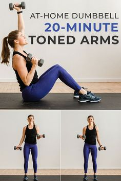 Sculpt and strengthen your entire upper body with these six arm-toning exercises! This arm workout with dumbbells targets your biceps, triceps, shoulders, chest and back muscles for a total upper body workout at home. Hiit Workout Videos, Fitness Workouts, Insanity Workout, Fitness Workout For Women, At Home Workouts, Fitness Motivation, Body Workouts, Best Ab Workout, Dumbbell Arm Workout