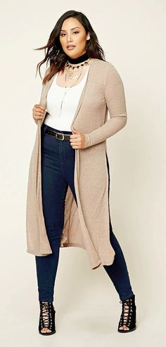 Plus Size Marled Knit Cardigan