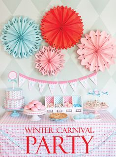 Winter Party Decorations. Love the colours