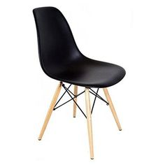 Eames Style DSW Molded Black Plastic Shell Chair with Wood Eiffel Legs