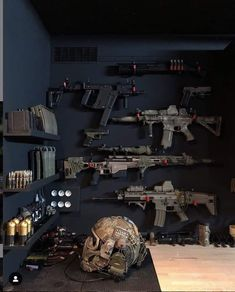 My safe place. : DM for credit Military Weapons, Weapons Guns, Airsoft Guns, Guns And Ammo, Weapon Storage, Gun Storage, Armas Airsoft, Gun Vault, Hidden Gun