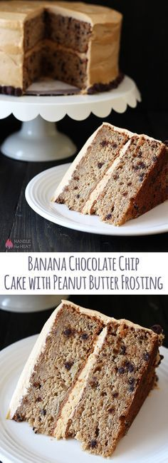 Banana Chocolate Chip Cake with PB frosting