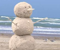 Create a Snowman in Sand---Perfect for a beach Christmas card photo!