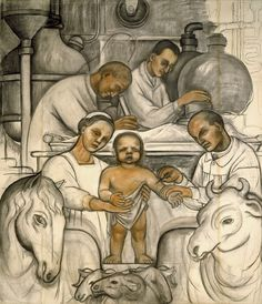 "The exhibition ""Diego Rivera and Frida Kahlo in Detroit"" casts new light on the artists' relationship—and on the meaning of Rivera's Detroit Industry murals. Frida Kahlo Exhibit, Diego Rivera Frida Kahlo, Frida And Diego, Mural Painting, Mural Art, Statues, Mexican Artists, Museum Of Modern Art, American Art"