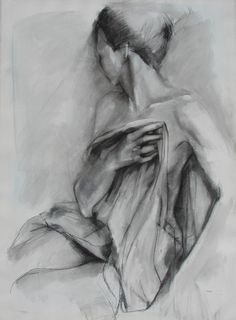 Charcoal Drawing of Female Model Holding Drapery.  by Krystyna81, $30.00
