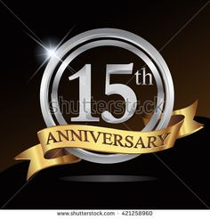 15th silver anniversary logo, 15 years anniversary celebration with ring and golden ribbon. - stock vector