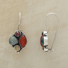"""FRUIT BOWL EARRINGS--Glowing like fresh, juicy fruits, cabochons of garnet, apatite, citrine and red onyx congregate on the sterling silver wires of these silver gemstone cluster earrings. Approx. 1""""L."""