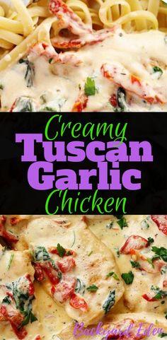 Creamy Tuscan Garlic Chicken, Chicken Recipe, Tuscan Garlic Chicken, Backyard Eden, www. Italian Dinner Recipes, Easy Dinner Recipes, Easy Meals, Italian Pasta Recipes Authentic, Tuscan Recipes, Italian Foods, Tuscan Garlic Chicken, Garlic Chicken Recipes, Garlic Chicken Pasta
