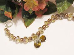 Two Hearts and a Dove Brown/Taupe/Bronze Crystal and Pearl Wedding Bracelet by RomanticThoughts, $37.95