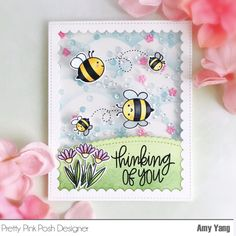 I hope you had a great weekend. Today, I have a spingy shakercard made with wonderful Pretty Pink Posh stamps, dies and se. Pretty Pink Posh, Bee Cards, Shaker Cards, Cool Cards, Easy Cards, Card Tags, Kids Cards, Scrapbook Cards, Homemade Cards