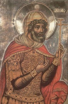 """Longinus the Centurion saw the Crucifixion and confessed, """"Truly this was the Son of God"""" (Mt 27:54). He stood watch at the Sepulchre and refused bribes to say the disciples stole Christ's Body. He was baptized and preached in Cappadocia and was beheaded. Later a blind widow and her son went to Jerusalem to pray for her sight. Her son died. St Longinus appeared to the grieving mother, helped her find his head, restored her sight, and appeared with her son in a consoling vision."""
