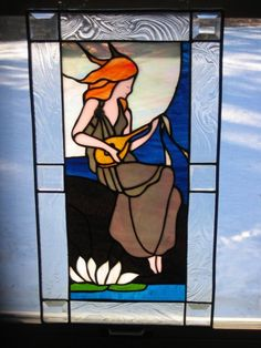 Stained Glass Lady with lute
