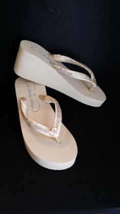 8e6451401e54 SALE - Ivory Flip Flops with sparkling Rhinestone and Heart Design also  White Flip Flops