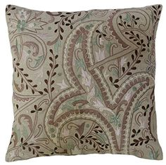 """Embroidered Paisley Linen Decorative Pillow Cover 18"""" Beige Brown Green Pink Steel Paisley http://www.amazon.com/dp/B018SSMZS0/ref=cm_sw_r_pi_dp_u9Fxwb0ASMVZ7"""