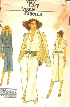 Vintage Sewing Pattern Shirt Dress Vogue 7291 by TenderLane, $10.00