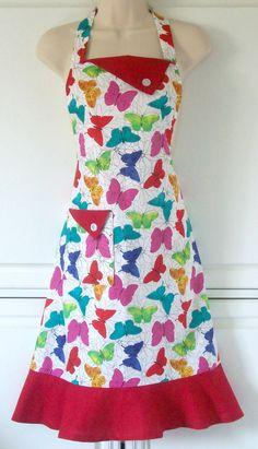 Butterfly Schürze, Schmetterling Print, Schmetterlinge, Frauen voll Schürze, Retro-Stil-Schürze, rot Schürze, Regenbogenfarben, KitschNStyle