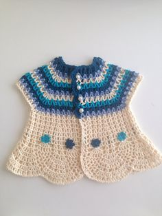 Crochet Cream Blue Pure Cotton Baby Girl Sweater with Crochet Flowers - 1 to 2 years old, Spring Clothing