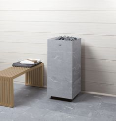 Tulikivi Tuisku soapstone sauna heatermade out of soapstone. Electric Sauna Heater, Modern Saunas, Sauna Ideas, Steam Sauna, Spa Rooms, Soapstone, Sweet Home, Wood, Interior