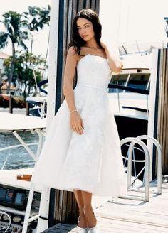 Beaded Lace Tea-length Dress w/ Satin Belt - David's Bridal- mobile