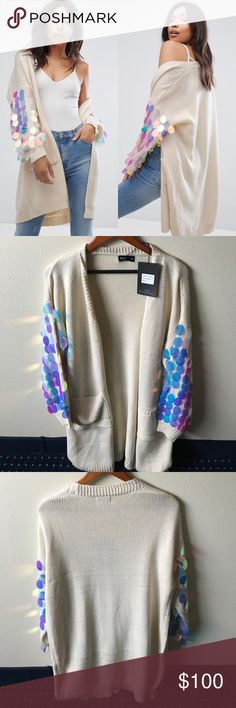 NWT PrettyLittleThings SeqUin Sleeve Cardigan NWT. Size M Pretty Little Things Sweaters Cardigans