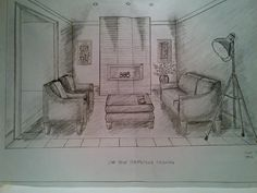 One point perspective drawing of  a living room. Rendered by sc jones
